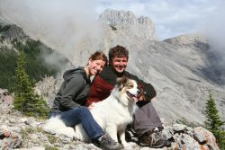 Stephen and Catherine with Baffin the dog